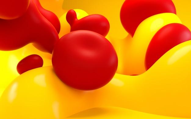 3d renderowania ilustracja. streszczenie gładka sztuka płynna. kulki i bąbelki.