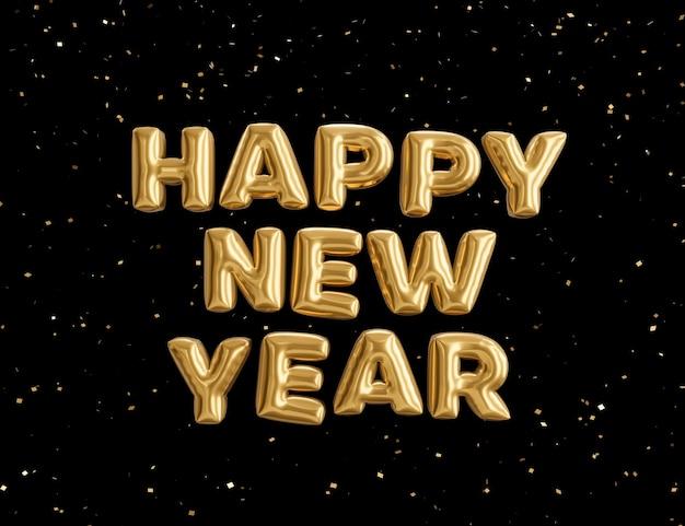 3d renderowania ilustracja szczęśliwego nowego roku, złoty metaliczny tekst, uroczysty projekt plakatu lub banera.