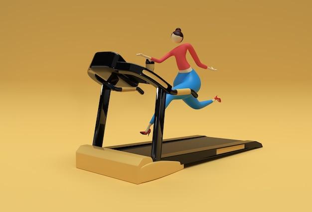 3d renderowania kobieta z systemem bieżni na tle fitness.