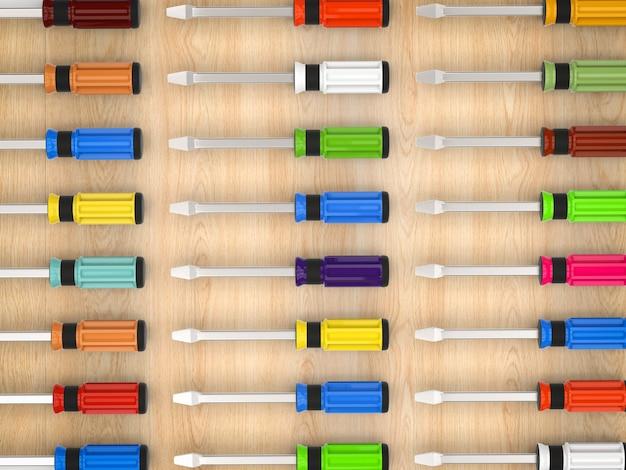 3d renderowania kolorowe tło śrubokrętów