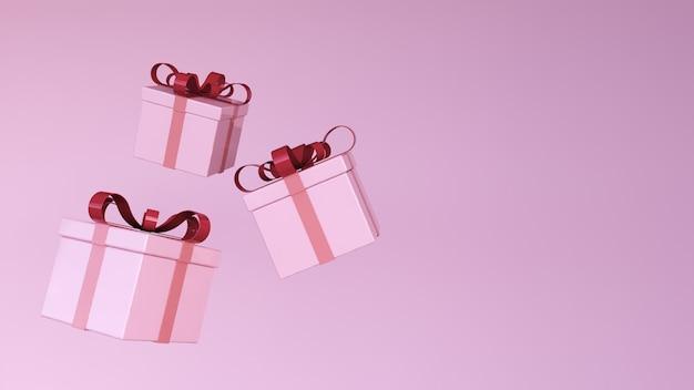 3d renderowania koncepcji pudełka na prezent unosi się w powietrzu na różowym pastelowym tle