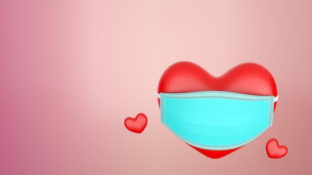 3d renderowania kształty serca kolor czerwony z maską abstrakcyjne tło valentine day concept. maska zapobiegająca rozprzestrzenianiu się covid 19