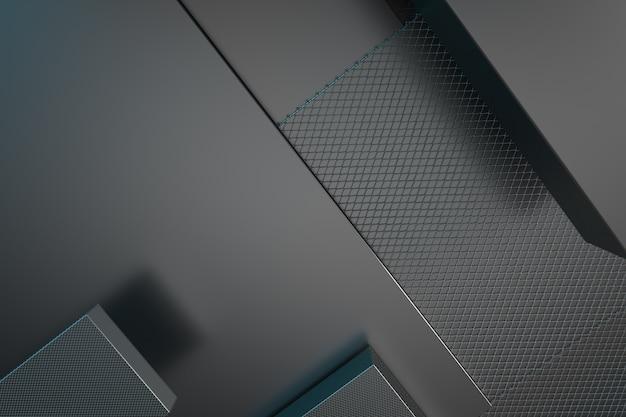 3d renderowania metaliczny ilustracja tło. przecięcie form metalowych. układ losowych prostokątnych kształtów.