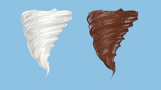 3d renderowania mleka i czekolady przędzenia w kształcie burzy, ścieżka przycinająca to.