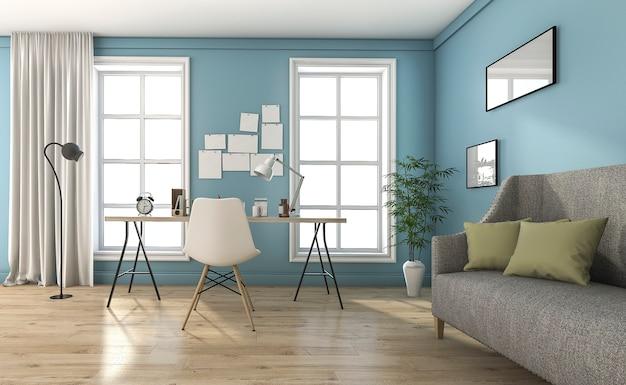 3d renderowania niebieski pokój dzienny z pięknymi meblami i dekoracji