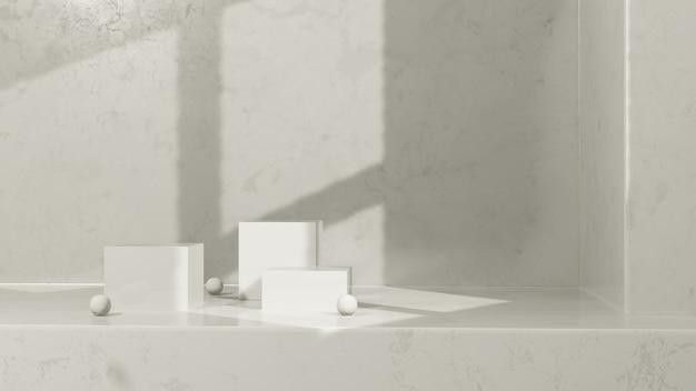 3d renderowania obrazu białe podium z oświetleniem okna i białym marmurowym wyświetlaczem produktu w tle