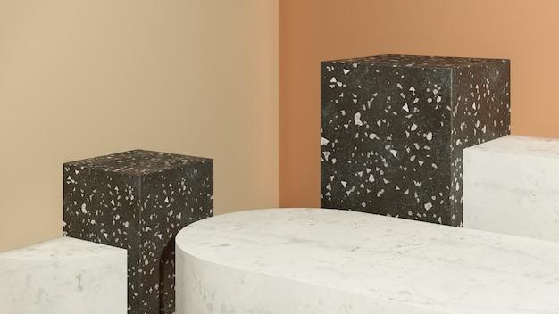 3d renderowania obrazu białego i czarnego marmuru podium z reklamą wyświetlania produktu w brązowym tle