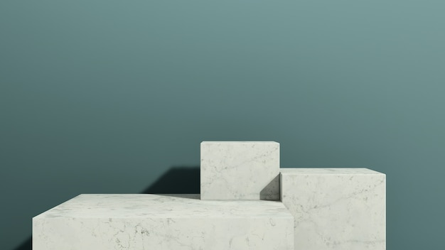 3d renderowania obrazu białego marmuru podium z reklamą wyświetlania produktu na niebieskim tle
