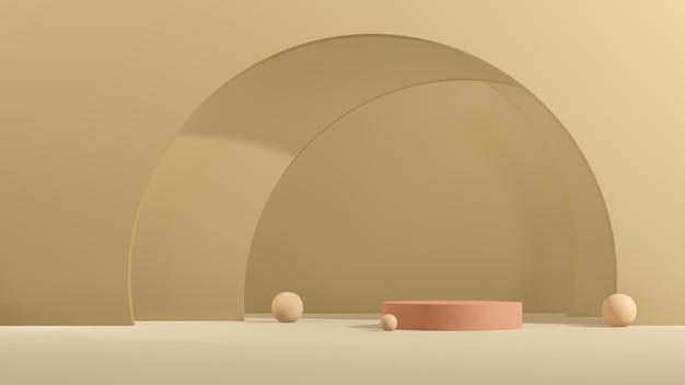 3d renderowania obrazu różowy podium z zielonym tłem reklama wyświetlania produktu