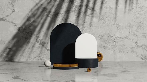 3d renderowania obrazu złoty czarny podium z cieniem dłoni i szarym marmurowym tłem wyświetlacza produktu