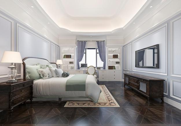 3d renderowania piękny klasyczny luksusowy luksusowy apartament w hotelu z telewizorem i stołem roboczym w stylu europejskim