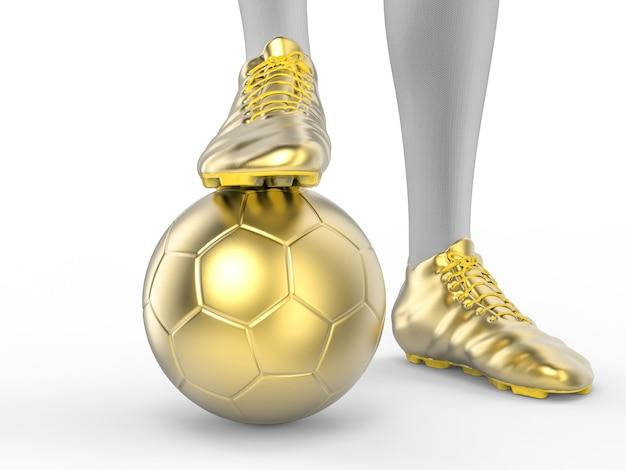 3d renderowania piłkarz stojący z piłką nożną