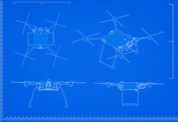 3d Renderowania Plan Drona Ze Skalą Na Niebieskim Tle Premium Zdjęcia