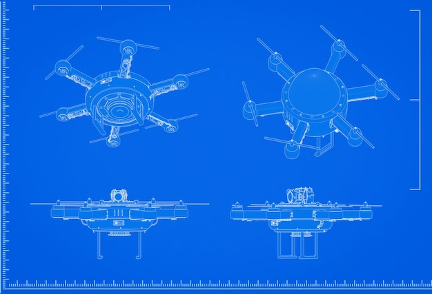 3d renderowania plan drona ze skalą na niebieskim tle