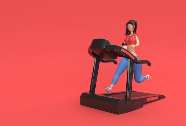 3d renderowania postaci z kreskówek kobieta systemem bieżni na tle fitness.
