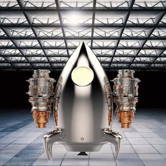 3d renderowania promu kosmicznego w hangarze