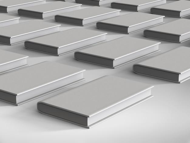 3d renderowania pusta okładka książek na białym tle
