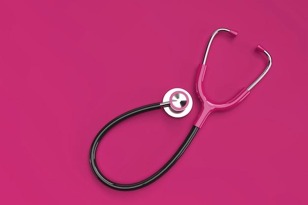 3d renderowania realistyczny stetoskop medyczny na kolor tła.