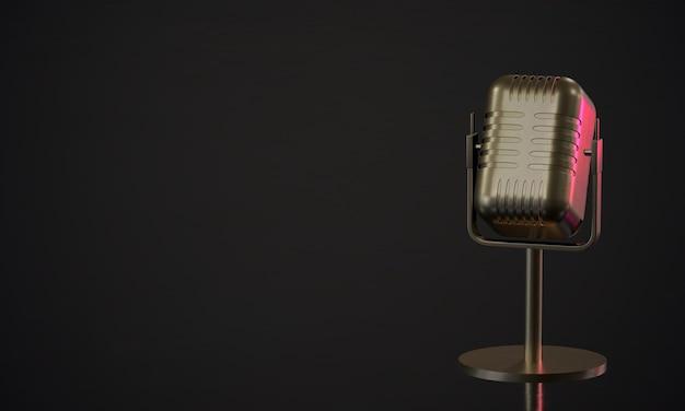 3d renderowania retro mikrofon na ciemnym tle