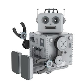 3d renderowania robota blaszana zabawka ręka w górę na białym tle