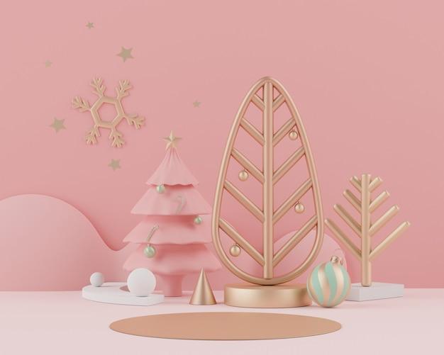 3d renderowania sceny świąt bożego narodzenia z wyświetlaczami podium lub cokołu do makiety