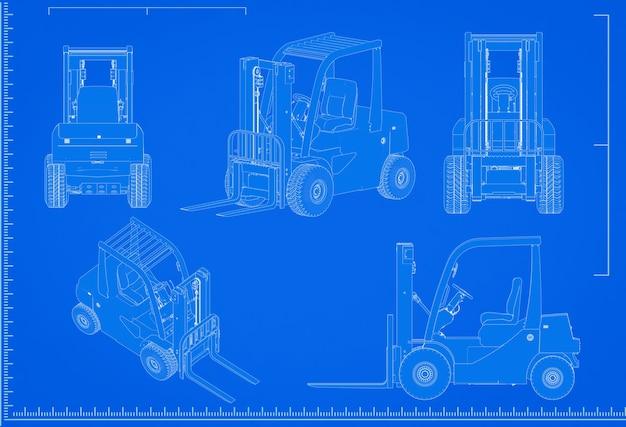 3d renderowania schemat wózka widłowego ze skalą na niebieskim tle