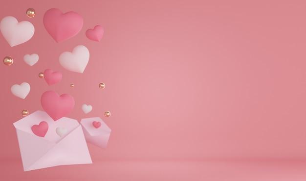 3d renderowania serca i tła na walentynki.