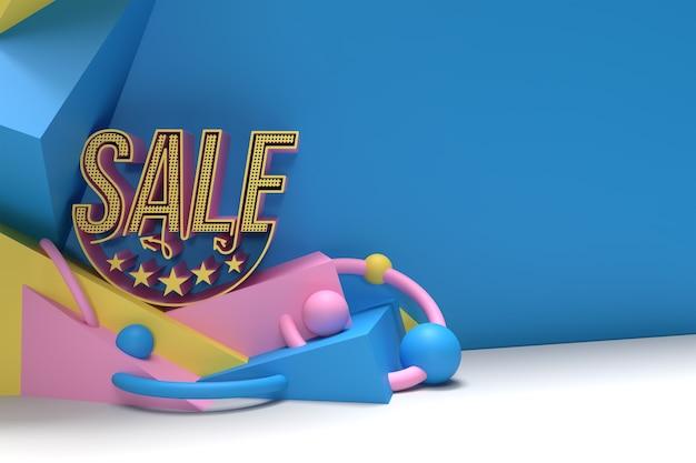 3d renderowania sprzedaż rabatu transparent z miejsca na tekst. projekt ulotki plakat ilustracja.