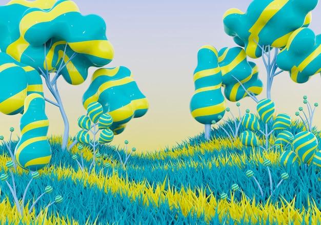 3d renderowania tła krajobrazu kreskówki z zabawnym drzewem, kwiatem i trawą