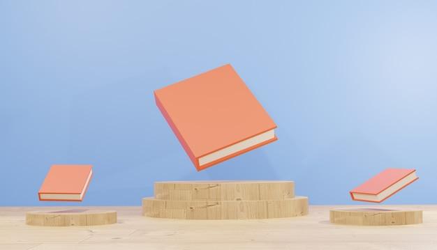 3d renderowania tła książki do nauki na drewnianym podium dla stron internetowych motyw szkolny