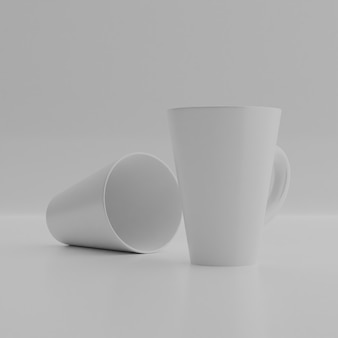 3d renderowania tła. kubek ceramiczny na białej ścianie. pusty kubek do projektowania.