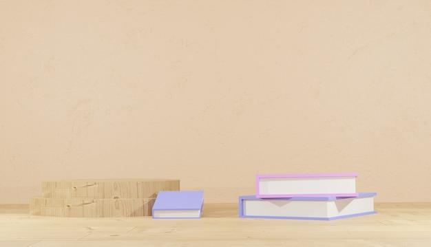 3d renderowania tła stosy książek do nauki i drewniane podium dla motywu szkolnego na stronie internetowej