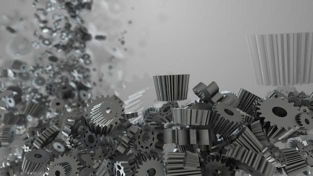 3d renderowania tła z losową formą narzędzi i kół zębatych