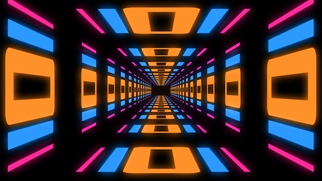 3d renderowania tunelu sci-fi abstrakcyjne tło