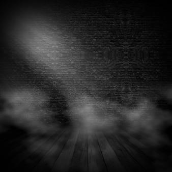3d renderowania wnętrza grunge ze światłem słonecznym świecącym z prawej i smokey atmosfery