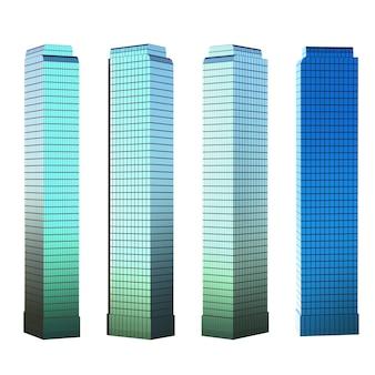 3d renderowania wysoki budynek na białym tle