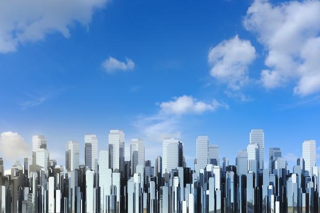 3d renderowania wysoki budynek z niebieskim tłem nieba
