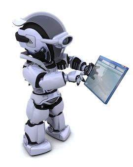 3d renderowania z robota poruszanie się okno komputer