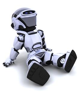 3d renderowania z robota siedzieć i relaks
