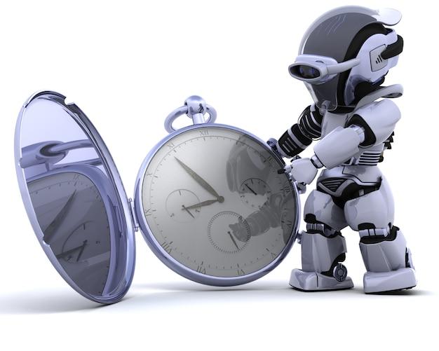 3d renderowania z robota z klasycznego zegarka kieszonkowego