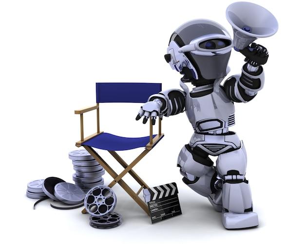 3d renderowania z robota z megafonem i dyrektorów krzesło