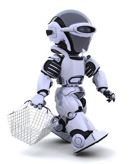 3d renderowania z robota zakupy z koszem