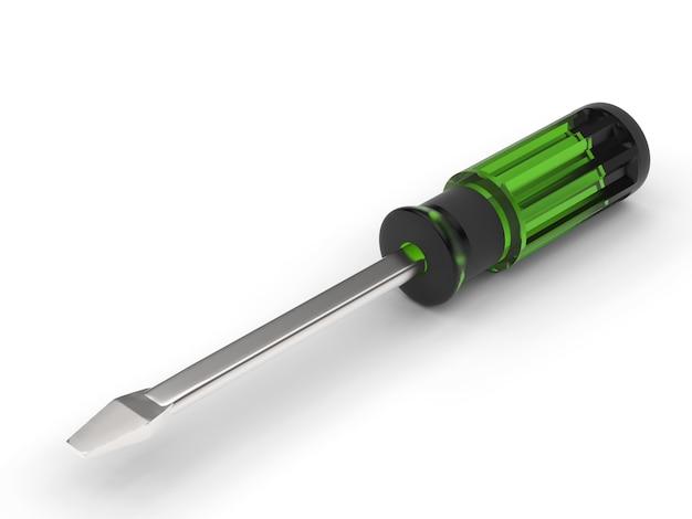 3d renderowania zielonych śrubokrętów
