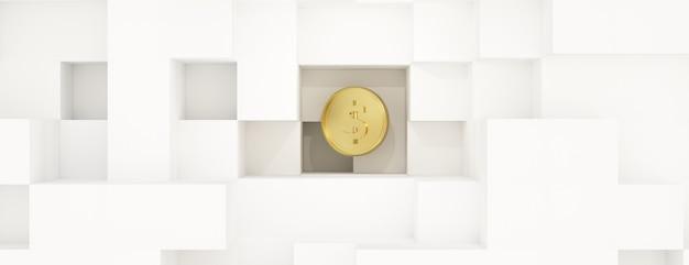 3d renderowania złota moneta na białym tle.