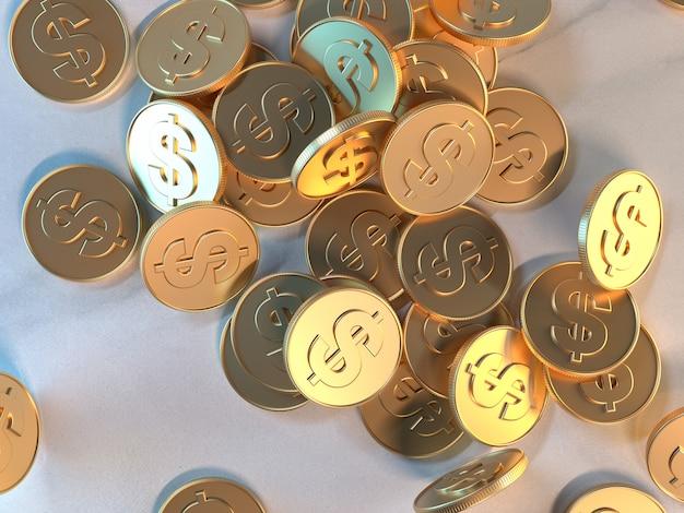 3d renderowania złota moneta symbol dolara symbol gospodarki