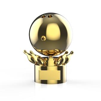 3d renderowania złote trofeum w kręgle na białym tle