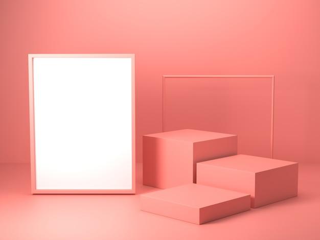 3d renderowanie abstrakcyjnego kształtu geometrycznego w kolorze różowym, nowoczesna minimalistyczna makieta do wyświetlania na podium lub prezentacji