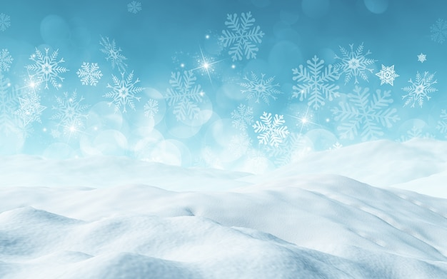 3d renderowanie boże narodzenie z śniegu