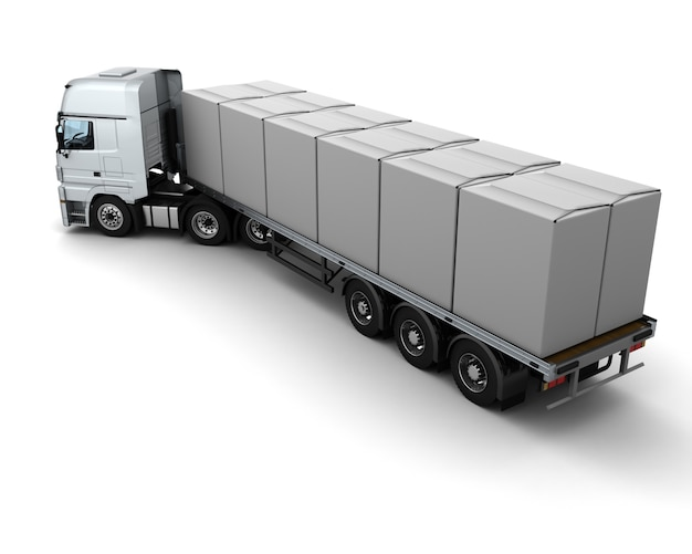 3d renderowanie ciężarówek ciężarówek wysyłki białe pudełka
