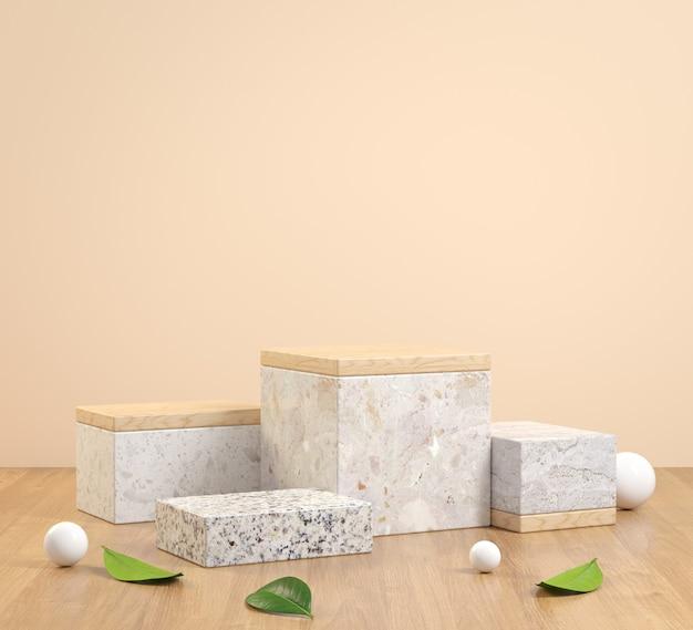 3d renderowanie kamienia krokowego z drewnianą podłogą i liśćmi